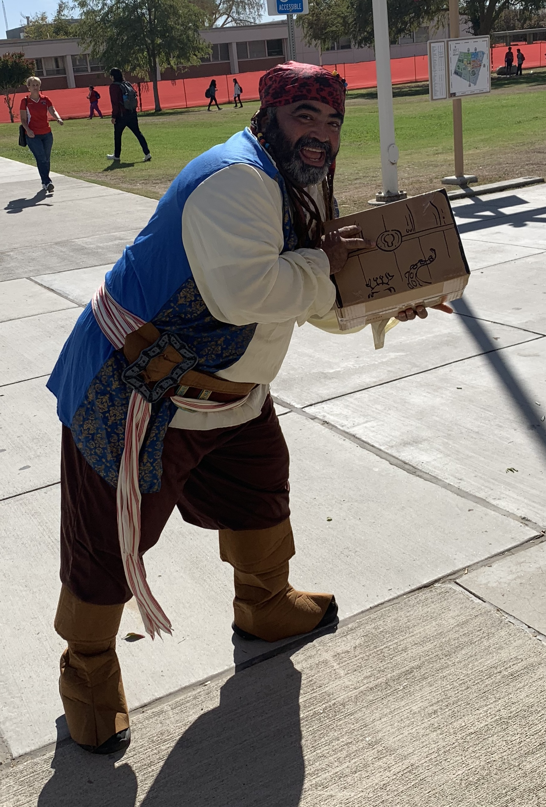 pirate outfit with box that looks like treasure chest