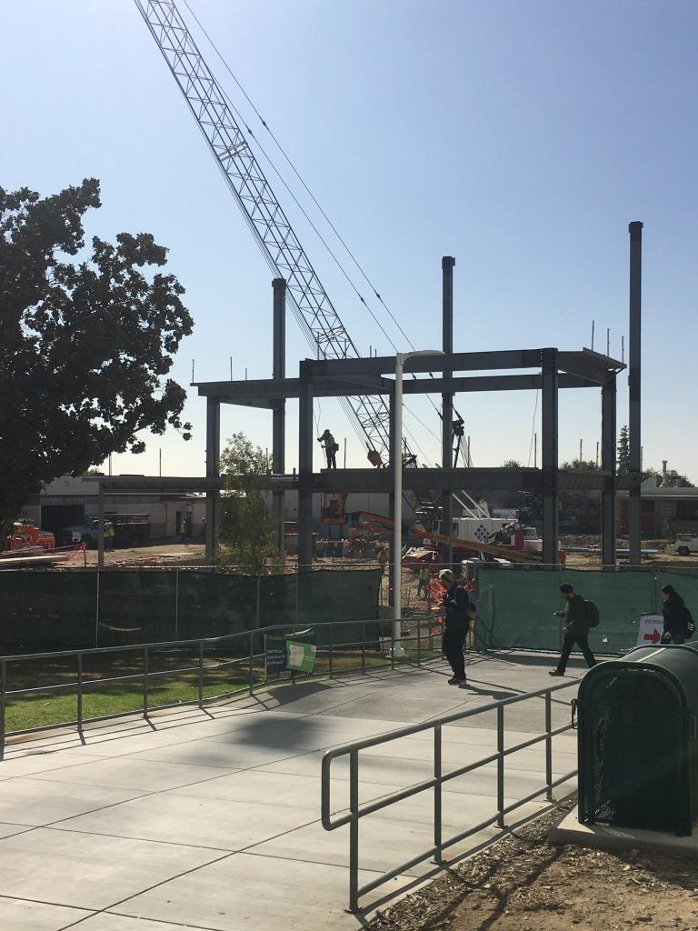 Steel frame and crane.